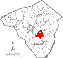Map of Lancaster County, Pennsylvania highlighting Strasburg Township
