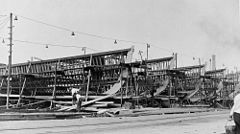 SC-1-class submarine chasers being built at the Brooklyn Navy Yard in 1917
