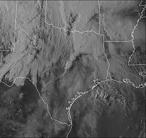 Tornado outbreak and floods of April 28 – May 1, 2017 - Satellite image of storm system and associated supercells over the state of Texas at 23:30 UTC on April 29