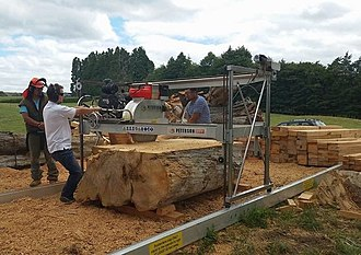Swingblade sawmill - A swingblade mill in action