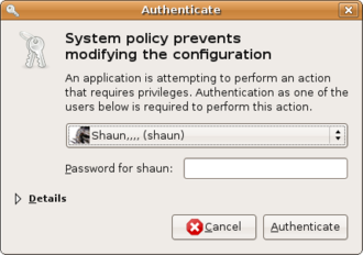 Comparison of privilege authorization features - PolicyKit in GNOME