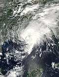 Satellite image of Tropical Storm Bill at peak intensity