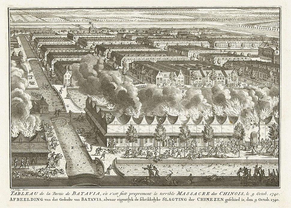 Tableau de la Partie de Batavia, ou s'est fait proprement le terrible Massacre des Chinois, le 9 Octob. 1740
