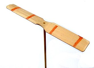 Helicopter rotor - A decorated Japanese taketombo bamboo-copter. The toy consists of a rotor attached to a stick.