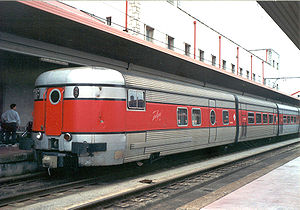 History of rail transport in Spain - Tail end of a Talgo III train, designed in the late 1960s