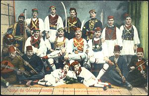 Baklahorani - People of Tataula (now Kurtuluş) dressed in traditional costumes during the carnival, 1930s.