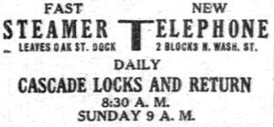 Telephone (sternwheeler) - Advertisement for steamer Telephone, placed September 17, 1905
