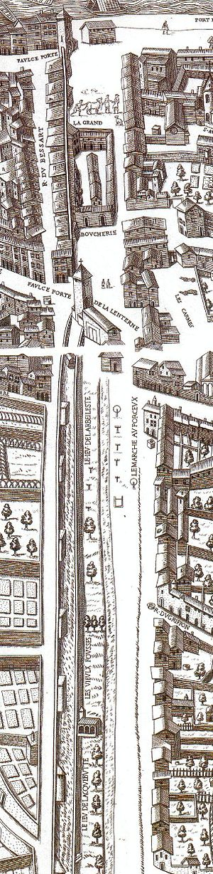 Place des Terreaux - Extract of scenographic plan of Lyon in 1548.