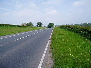 A525 road - Image: The A525, between Whitchurch and Bangor on Dee geograph.org.uk 182224
