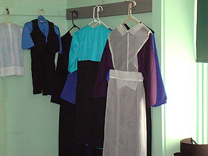 Amish clothing hanging in the bedroom at The A...