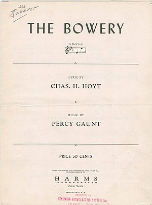 The Bowery (song) - Sheet Music to The Bowery, 1892