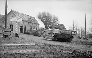 34th Armoured Brigade (United Kingdom) - Churchill tanks of the 34th Tank Brigade in the Reichswald during Operation 'Veritable', 8 February 1945.