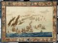 The Burning of the Royal James (Later in the Day), wandtapijt door Willem van de Velde de Oude.png