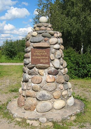 "Piippola - Monument in Piippola, Finland, marking ""The Center of Finland"", erected in 1958"