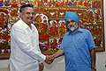 The Chief Minister of Chattisgarh, Dr. Raman Singh meeting with the Deputy Chairman, Planning Commission, Dr. Montek Singh Ahluwalia to finalize annual plan 2008-09 of the State, in New Delhi on March 28, 2008.jpg