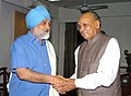 The Chief Minister of Himachal Pradesh, Shri Prem Kumar Dhumal meeting the Deputy Chairman, Planning Commission, Shri Montek Singh Ahluwalia to finalize Annual Plan 2010-11 of the State, in New Delhi on March 08, 2010 (1).jpg