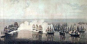 A small group of large ships on the left engages a line of ships on the right, which is protecting several smaller ships. Clouds of smoke hang over the fight as the ships fire their cannons.