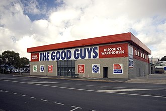 The Good Guys (Australian company) - Good Guys store in Belconnen, Australian Capital Territory showing the prominence of the store proprietor's name on the building