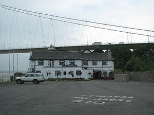The Old Ferry Inn under the Severn Bridge at Beachley.jpg