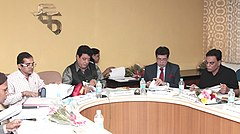 The President, FTII Society, Shri Gajendra Chauhan chairing the governing council's meeting of FTII society, in Pune on January 07, 2016. The Director, FTII, Shri Prashant Pathrabe is also seen.jpg