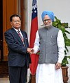 The Prime Minister, Dr. Manmohan Singh meeting the Chairman, State Peace and Development Council, Myanmar, Sr. Gen. Than Shwe, in New Delhi on July 27, 2010.jpg