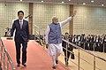 The Prime Minister, Shri Narendra Modi and the Prime Minister of Japan, Mr. Shinzo Abe arrive at the India-Japan Business Summit, in Mahatma Mandir, Gandhinagar, Gujarat on September 14, 2017.jpg