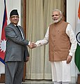 The Prime Minister, Shri Narendra Modi with the Prime Minister of Nepal, Mr. Pushpa Kamal Dahal, at Hyderabad House, in New Delhi on September 16, 2016 (1).jpg