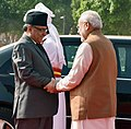 The Prime Minister of Nepal, Mr. Pushpa Kamal Dahal being received by the Prime Minister, Shri Narendra Modi, at the Ceremonial Reception, at Rashtrapati Bhavan, in New Delhi on September 16, 2016.jpg