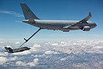 The Royal Australian Air Force has completes the first fuel transfer with the air refuelling boom from a RAAF KC-30A Multi Role Tanker Transport to a U.S. Air Force F-35A Lightning II.jpg