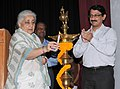 The Union Minister for Culture, Smt. Chandresh Kumari Katoch lighting the lamp to inaugurate 'Yuva Saathi'- Young Visitor Programme, in New Delhi on August 07, 2013.jpg
