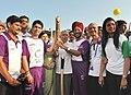 The Veteran Athlete, Shri Milkha Singh and the Beijing Olympic Gold Medalist, Shri Abhinav Bindra holding the Queen's Baton Delhi 2010, in Chandigarh on July 03, 2010.jpg