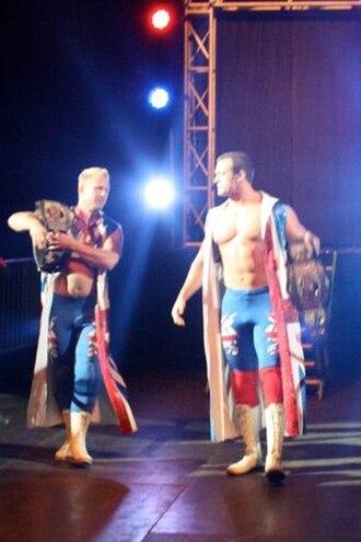 Magnus (wrestler) - Magnus (right), one half of The British Invasion as TNA World Tag Team Champions