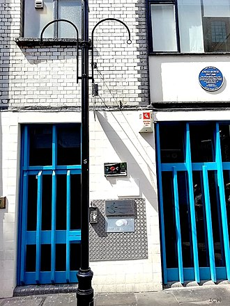 Trident Studios - The former Trident Studios building at St Anne's Court, Soho, London, 2018, with the David Bowie Blue Plaque
