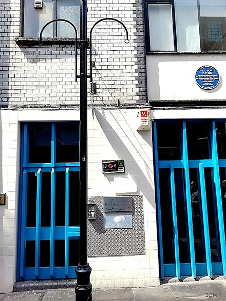 The former Trident Studios building at St Anne's Court, Soho, London, 2018, with the David Bowie Blue Plaque The former Trident Studios building, St Anne's Court, Soho, London 2018.jpg