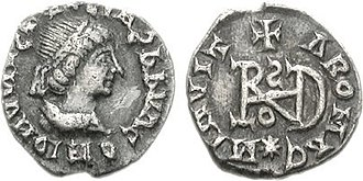 Middle Ages - A coin of the Ostrogothic leader Theoderic the Great, struck in Milan, circa AD 491–501