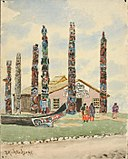 Theodore J. Richardson - Alaska Building with Totems at St. Louis Exposition - 1985.66.326,785 - Smithsonian American Art Museum.jpg