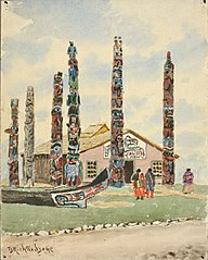 Alaska Building with Totems at St. Louis Exposition