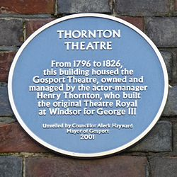 Photo of Henry Thornton and Thornton Theatre, Gosport blue plaque