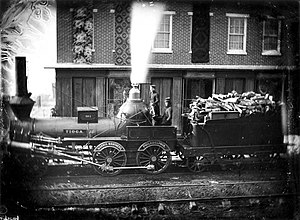 Norris Locomotive Works - The Tioga leaving the Norris Works in 1848.