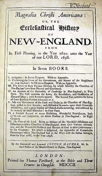 Magnalia Christi Americana - Title page of the book