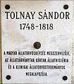 Tolnay Sándor emléktáblája Kossuth Lajos tér 11.JPG