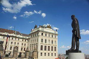 Czech presidential election, 2013 - The Prague Castle, official residence of the Czech President, behind the statue of Tomáš Garrigue Masaryk, the first President of Czechoslovakia