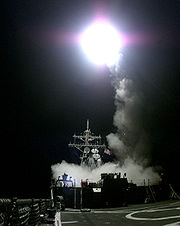 A Tomahawk cruise missile launches from the aft missile deck of the USS Gonzalez on March 31, 1999