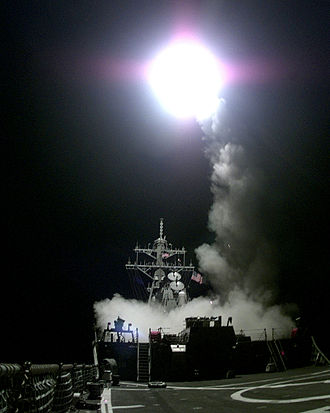 Kosovo War - A Tomahawk cruise missile launches from the aft missile deck of USS Gonzalez on March 31, 1999