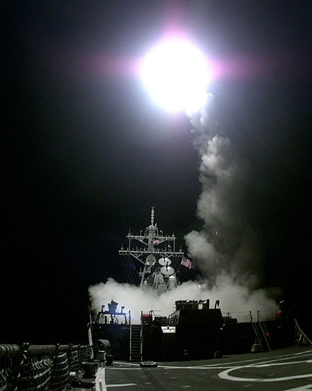 A Tomahawk cruise missile launches from the aft missile deck of the US warship USS Gonzalez on March 31, 1999 Tomahawk-launch.jpg