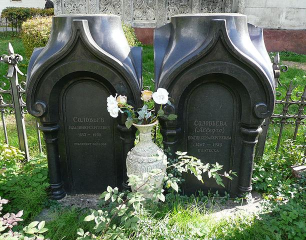 Надгробия Владимира Соловьёва и его сестры Поликсены