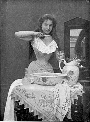 A photo from 1899 showing the use of toothbrush.