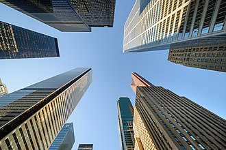 Financial District, Toronto - A worm's-eye view of the Financial District's tallest structure, including three of Canada's tallest building.