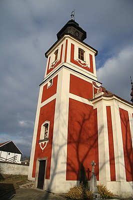 Tower of church of Saint Catherine in Slavíkovice, Třebíč District.JPG