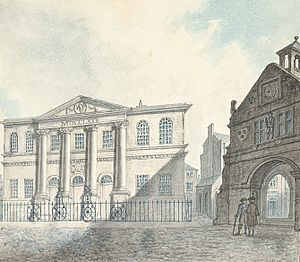 Shrewsbury - The town hall and old Market House, 1796
